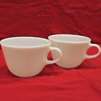 2 Pyrex Milk Glass Coffee Tea Cups Mugs Corning, USA