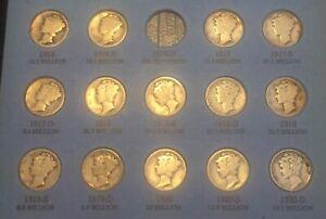 Mercury Dimes *1916-1945*68 Coins In Whitman Folder. Set 3 Not Scrap.
