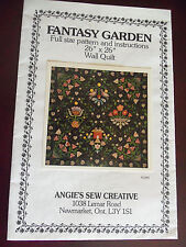 """FANTASY GARDEN QUILT PATTERN - 26"""" X 26"""" WALL QUILT - LOVELY FLOWERS & HEARTS"""