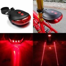 Red 2 Laser 5 LED Cycling Rear Tail Light Bicycle Bike Flash Safety Warning Lamp
