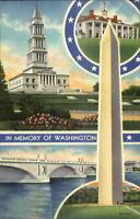 Washington DC Sites Multi View LINEN Curteich Postcard