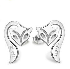 Wholesale 925 Silver Fox Earrings Ear Stud Elegant woman Fashion Jewelry Gift