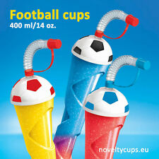 108 x Football Slush Yard Cup Slushy cups 14oz with Lid & Straw 400ml BLACK Ball
