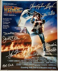 Back To The Future cast signed poster Fox, Lloyd, Wilson, Thompson etc - ACOA