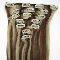"""15""""18""""20""""22""""7PCS Clip In Remy Human Hair Extension Straight #4/613 Mixed"""