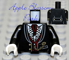 NEW Lego Minifig BLACK TORSO Vampire Groom Suit w/White Shirt Red Tie Gold Chain