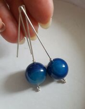Earrings BLUE NATURAL AGATE BEADS ON 925 STERLING SILVER ROD