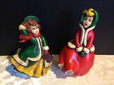 2 Vintage ATLANTIC MOLD Christmas Carolers_1960's Hand-Painted Ceramic Figures
