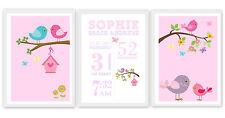 Set of 3 Birds/ Owls/ Jungle/ Nautical Wall Art Girl/Boy Baby/ Bedroom/ Nursery