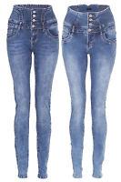 New Womens Ladies Denim High Waist Super Skinny Fit Stretch Jeans XS-XL