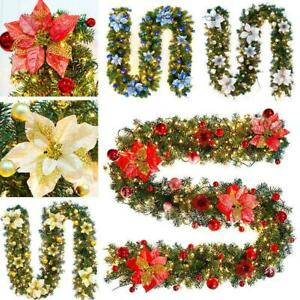 9FT Pre Lit Christmas Garland with Lights Doors Wreath Xmas Fireplaces DIY Decor