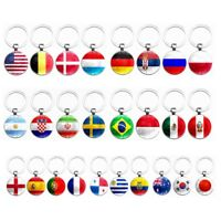 Country Flag Alloy Key Chains Fans Souvenir Gift Football Alloy Keyring Decor