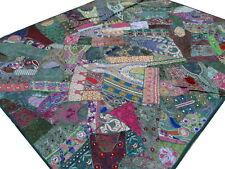 Handmade Patchwork Quilt Dark Green King Heavy Vintage Sari Bedspread India Boho
