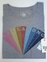 BILLABONG MENS T-Shirt REMIND CLASSIC PRINT SHORT SLEEVE CREW NECK GREY MEDIUM