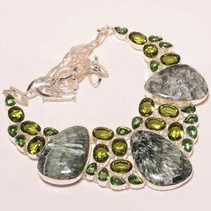 "Seraphinite & Green Amethyst & Peridot 925 Sterling Silver Necklace 17.99"" (110)"