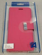 Motorola Moto G6 Play Designer Wallet Protective Case - Pink - #6D
