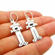 Long Dog 925 Sterling Silver Canine Animal Drop Earrings