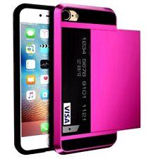 for iPhone 5 5s 6 6sPLUS ShockProof Card pocket Hybrid wallet Bumper case cover