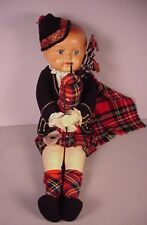 "Vintage Scottish Doll 16"" composition head Scotland Highlander ethnic costume"
