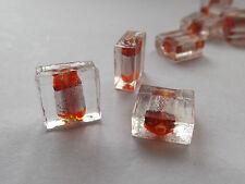6 Perles verre  feuille d'argent carrée ROUGE éclat argent 12x12mm façon MURANO