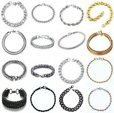Stainless Steel Bracelets Solid Curb Figaro Snakes King-Bracelet Men's Women's
