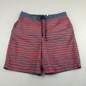 L.L. Bean Red and Gray Striped Swim Trunks Shorts Size L Drawstring Lined Adult