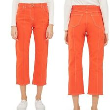 Topshop Boutique Womens Seam Front Crop Jeans Red Size 6