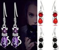 Women 925Silver Sterling Lovely Cat Amethystine Crystal Dangle Ear Earrings Gift