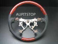 Toyota Land cruiser FJ100 FJ120 Burl wood Black leather steering wheel-SPORTS