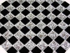 Glasmosaik Mosaik Fliesen Klarglas spiegel chrom silber schwarz Bad Dusche top