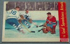 1955-56 Parkhurst Hockey Card #75 Action Card Jacques Plante