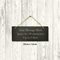 Personalised Slate Hanging Sign Engraved Message Plaque Home Wedding 30cm x 12cm