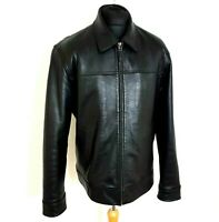 Daniel Hechter Mens Leather Jacket Size Large Zipped Soft Feel Collared Bomber