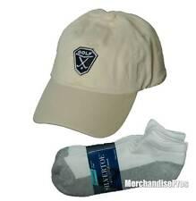 MEN'S CREAM 100% COTTON GOLF BASEBALL CAP & GOLD TOE NO-SHOW SOCKS BUNDLE  NEW!