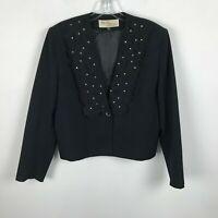 Vintage 1980s Lilli Ann Adolph Schuman Blazer M L Black Embroidered Rhinestones