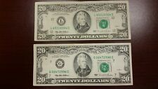 Lot of 2 Two Old $20 US Notes Bills (1995) $40.00 Face Value