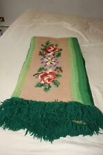 VTG Hand Made Cross Stitch Crocheted Lap Blanket Afghan Throw Green  Twin/Full