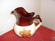 """VINTAGE McCOY 7515 BROWN 7.25"""" PITCHER PINNAPPLE STRWABERRY, FALL HARVEST..USA"""