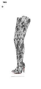 Christian Louboutin Gravitissima 100 Black & White Thigh High OTK Heel Boots 38