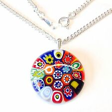 Multi-Coloured Round Glass Pendant Nacklace. Silver Chain with Murano Millefiori