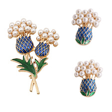 Gold and Pearl Enamel Pineapple Brooch and Ear Clips Set.