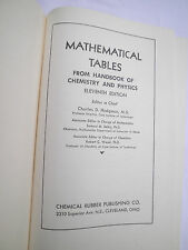 Mathematical Tables from Handbook of Chemistry and Physics 1962 11th Edition HC