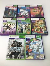 XBOX 360 Game Lot 8 Kinect Dance Zumba Sports Ghost Recon Game Party Adventures