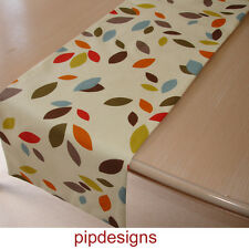 "210 cm Table Runner 7 Ft Orange Red Green Brown Blue Grey Leaves 84"" Leaf"