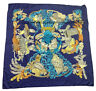Authentic Hermes Blue Silk Scarf Made In France 35 X 35