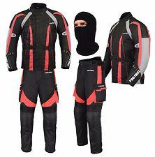Motorbike Waterproof 2pcs Suit Motorcycle Jacket Trouser Fabric Armoured Red