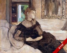 DEGAS BEAUTIFUL YOUNG WOMAN RESTING CALM FRENCH PAINTING ART REAL CANVAS PRINT