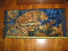 """Vintage Tapestry Wall Hanging Lion  42"""" x 20"""""""