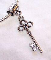 Flower Skeleton Key Antique Door Floral Dangle Charm for European Bead Bracelets