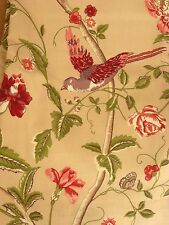 """Summer Palace cranberry curtains 88"""" x 90"""" birds floral large patio french door"""